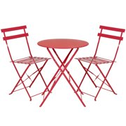 Best Choice Products Metal 3 Piece Portable Folding Outdoor Bistro Set Red