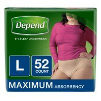 Depend FIT-FLEX Incontinence Underwear for Women, Maximum Absorbency, L, 52 Ct