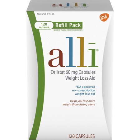 alli Diet Weight Loss Supplement Pills, Orlistat 60mg Capsules, 120