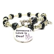 Chubby Chico Charms Someone I Love Is Deaf Cat's Eye Wrap Charm Bracelet in Black