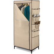 "Honey Can Do 27"" Storage Closet with Shoe Organizer, Khaki/Brown Trim"