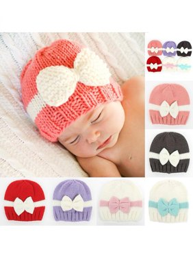 Product Image Newborn Baby Girl Infant Winter Hat Color Block Bowknot Warm  Knitted Beanie Cap 629a16f9f37