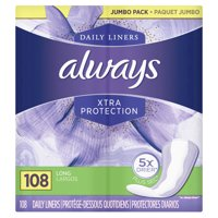 Always Xtra Protection Daily Liners, Long, 108 Count