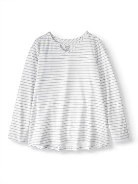 Printed Long Sleeve Keyhole T-Shirt (Little Girls & Big Girls)