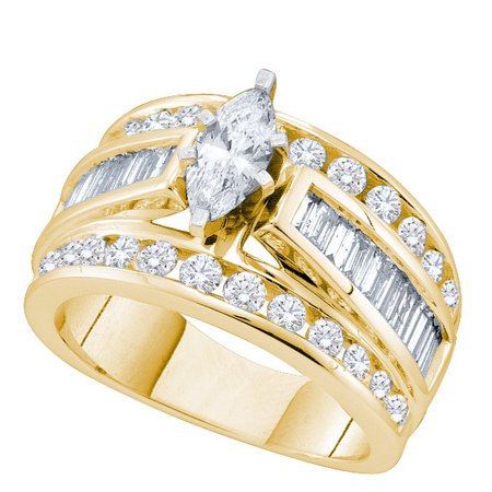 14kt Yellow Gold Womens Marquise Diamond Solitaire Bridal Wedding Engagement Ring 2.00 Cttw (Gold Ladies Diamond Solitaire)