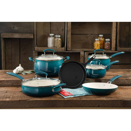 The Pioneer Woman Classic Belly Ceramic Non-Stick Interior 10 Piece Cookware