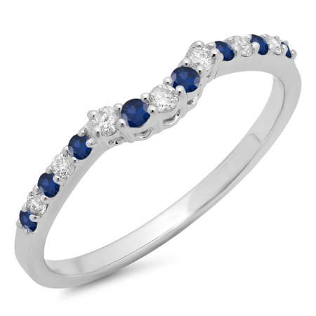 14K Gold Round Blue Sapphire & White Diamond Ladies Contour Wedding Stackable Band Guard Ring