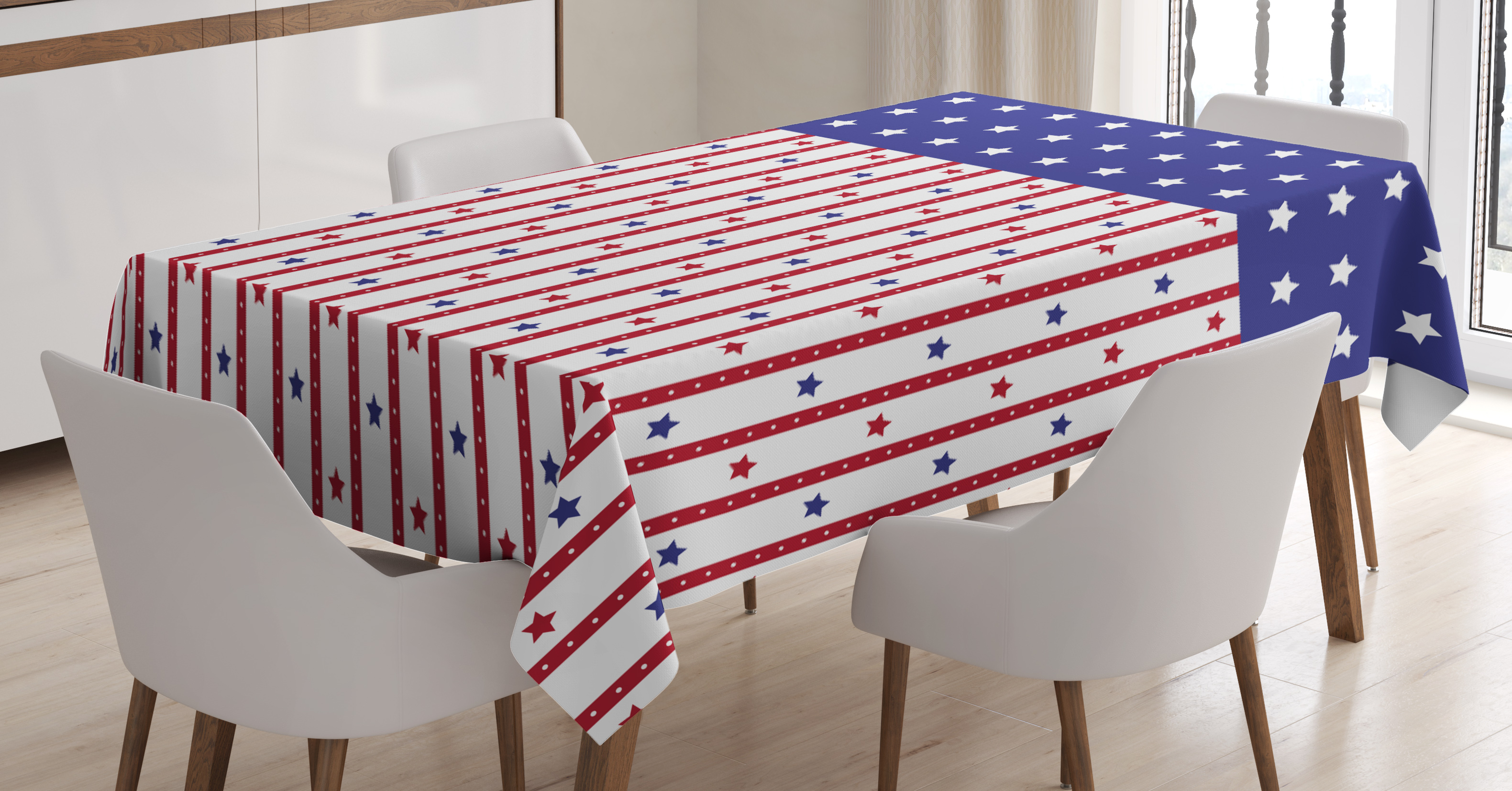 American Outdoor Picnic Tablecloth Old National Patriotic Print 58 X 84 Inches