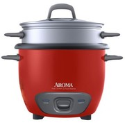 Aroma 14 Cup Non-Stick Programmable Pot Style Red Rice Cooker, 4 Piece