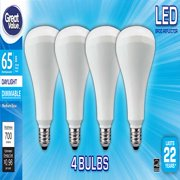 Great Value LED Dimmable BR30 Reflector Light Bulbs, 8W (65W Equivalent), Daylight, 4-Pack