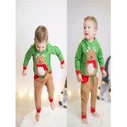 962c8632a017 Christmas Toddler Kids Baby Boy Deer Hoodie Sweatshirt Tops Pants Outfits  Set