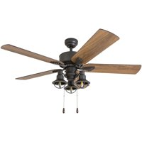 Prominence Home 50651-35 Sivan Farmhouse 52-Inch Aged Bronze Indoor Ceiling Fan, Lantern LED Multi-Arm Barnwood/Tumbleweed Blades