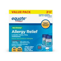 Equate 24 Hour Non-Drowsy Allergy Relief Loratadine Tablets, 10 mg, 300 Count