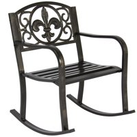 Best Choice Products Metal Rocking Chair Seat for Patio, Porch, Deck, Outdoor w/ Scroll Design - Bronze