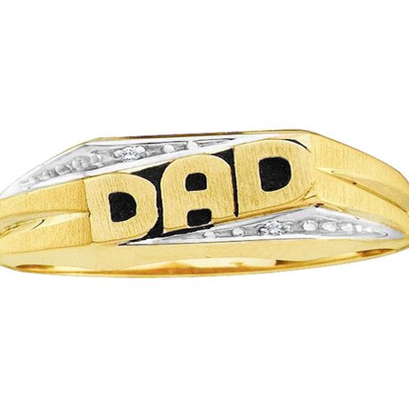 Saris and Things 10kt Yellow Gold Mens Round Diamond Dad Father Band Ring .01
