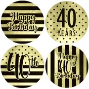 Gold Foil 40th Birthday Favor Labels 40ct