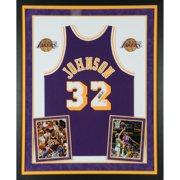 67933995539 Magic Johnson Los Angeles Lakers Deluxe Framed Autographed Purple Mitchell  & Ness Hardwood Classics Swingman Jersey