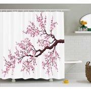 Japanese Shower Curtain, Branch of a Flourishing Sakura Tree Flowers Cherry Blossoms Spring Theme Art