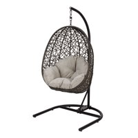 Better Homes & Gardens Open Weave Patio Wicker Hanging Chair with Stand and Beige Cushion