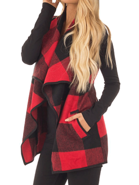 Clothes for Women on Clearance, Long Outwear Sleeveless Blouse Coat for Women, Red / Khaki / Black Lapel Open Front Plaid Vest Cardigan with Pockets, S-XL