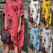9181409c83c Urkutoba Women s Cotton Linen Maxi Dress Short Sleeve Casual Boho Kaftan  Tunic Plus Size
