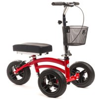 KneeRover Small Adult Short All Terrain  Steerable Knee Walker Knee Scooter Crutch Alternative with Basket in Red