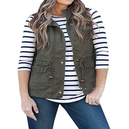 Nlife Women's Sleeveless Waist Belt Zip Up Vest (Buffalo Plaid Vest Women)