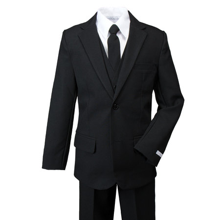 Spring Notion Boys' Modern Fit Dress Suit Set Black](Baby Boy Dress Up Clothes)