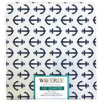 "Waverly Inspiration Anchor White Ink Fat Quarter 100% Cotton, Anchor Print Fabric, Quilting Fabric, Craft fabric, 18"" by 21"", 140 GSM"