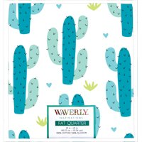 "Waverly Inspiration Fat Quarter 100% Cotton, Cactus TEAL Print Fabric, Quilting Fabric, Craft fabric, 18"" by 21"", 140 GSM"