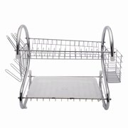 Akoyovwerve Kitchen Stainless Steel 2-Layer Dish Cup Drying Rack Holder Dish Bowls Rack Sink Drainer