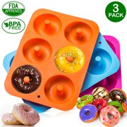 3fd4ef5be 3-Pack Donut Baking Pan of 100% Nonstick Silicone. BPA Free Mold Sheet