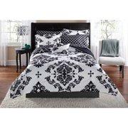 Mainstays Classic Noir Queen Bed in a Bag Coordinating Bedding Set, Black