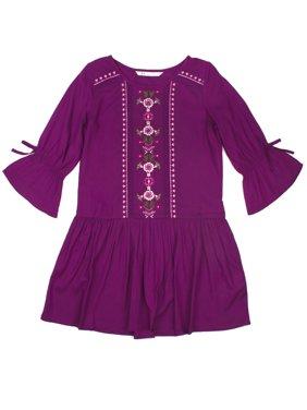 Embroidered Drop Waist Long Sleeve Dress (Little Girls & Big Girls)