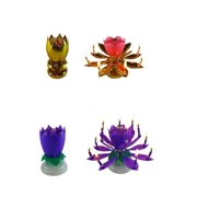 Exciting Candle Rotating Magic Sparkler Lotus Flower Birthday 2 Pack 1 Gold