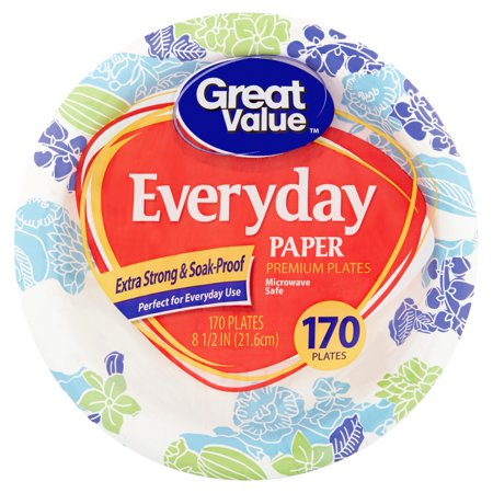 "Great Value Everyday Paper Lunch Plates, 8 5/8"", 170 Count"
