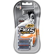 BIC Flex5 Hybrid Men's 5 Blade Disposable Razor, 1 Handle, 4 Cartridges