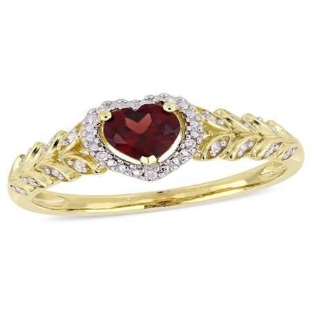 1/2 Carat T.G.W. Garnet and Diamond-Accent 10kt Yellow Gold Heart Halo Leaf Ring](January 26 Birthstone)