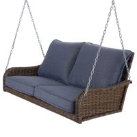 Better Homes & Gardens Brookhaven Outdoor Wicker Porch Swing with Blue Cushions