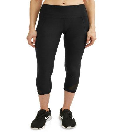Women's Active High Waist Tummy Control Capri Legging (Cotton Elastic Waist Stretch Legging)