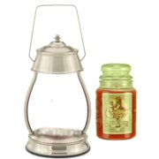 Hurricane Brushed Nickel Candle Warmer Gift Set - Warmer and Candle - BEAUTIFUL