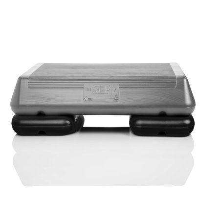 - The Step Original Circuit Size Aerobic Stepper Platform with Grey Nonslip Platform and Two Original Black Risers