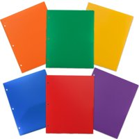 JAM Paper Heavy Duty Plastic 3 Hole Punch Folders with Pockets, Assorted Primary Colors, 6/pack