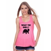 0951f544b9ed51 7 ate 9 Apparel Womens What The Shell  Tank Top - Large