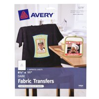 """Avery(R) Dark T-shirt Transfers for Inkjet Printers 3279, 8-1/2"""" x 11"""", Pack of 5 Sheets"""