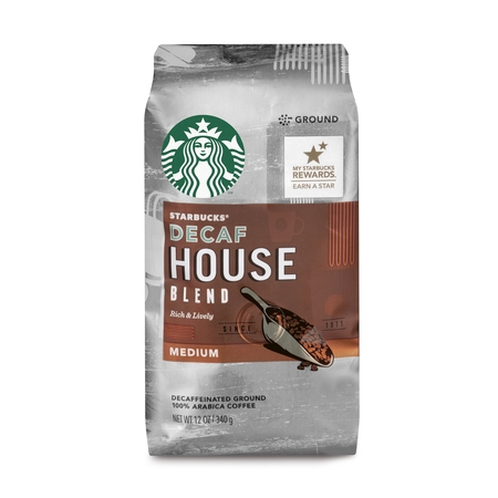 - Starbucks Decaf House Blend Medium Roast Ground Coffee, 12-Ounce Bag