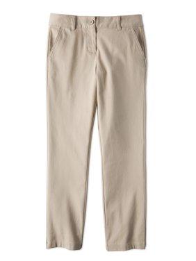 Wonder Nation Girls School Uniform Stretch Twill Straight Fit Pants