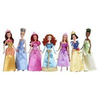 ultimate disney princess collection, 7 dolls: belle, cinderella, ariel, merida, rapunzel, snow white & tiana