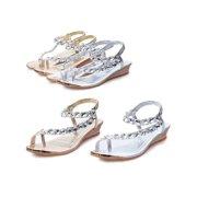 22411c933 Womens Sandals Silver Diamond Wedding Party Sandal Shoes Low Heels Casual  Shoe