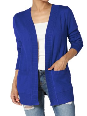 TheMogan Women's PLUS Boyfriend Relaxed Fit & Pocket Open Front Knit Sweater Cardigan